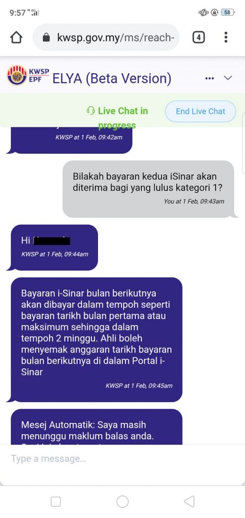 second month isinar payment